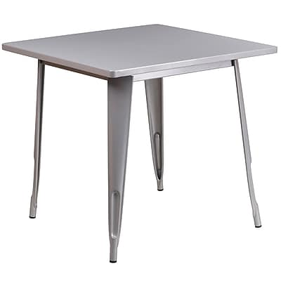 Flash Furniture 31.5'' Square Silver Metal Indoor-Outdoor Table (ET-CT002-1-SIL-GG)