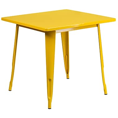 Flash Furniture 31.5'' Square Yellow Metal Indoor-Outdoor Table (ET-CT002-1-YL-GG)
