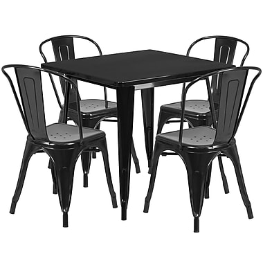 Flash Furniture – Table carrée en métal 31,5 po et 4 chaises empilables, int/ext, noir (ET-CT002-4-30-BK-GG)