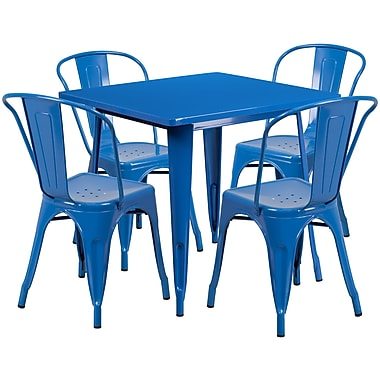 Flash Furniture – Table carrée en métal 31,5 po et 4 chaises empilables, int/ext, bleu (ET-CT002-4-30-BL-GG)