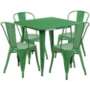 Flash Furniture 31.5'' Square Green Metal Indoor-Outdoor Table Set with 4 Stack Chairs (ET-CT002-4-30-GN-GG)