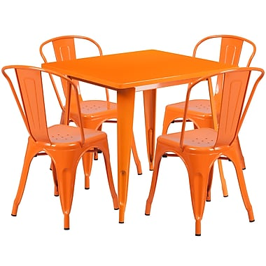 Flash Furniture 31.5'' Square Orange Metal Indoor-Outdoor Table Set with 4 Stack Chairs (ET-CT002-4-30-OR-GG)