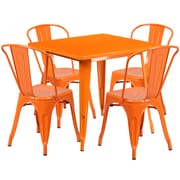Flash Furniture – Table carrée en métal 31,5 po et 4 chaises empilables, int/ext, orange (ET-CT002-4-30-OR-GG)