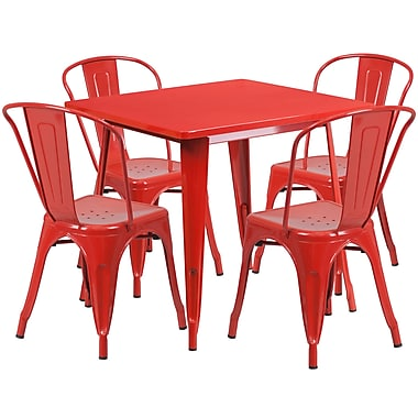 Flash Furniture – Table carrée en métal 31,5 po et 4 chaises empilables, int/ext, rouge (ET-CT002-4-30-RED-GG)