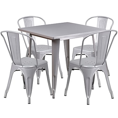 Flash Furniture 31.5'' Square Silver Metal Indoor-Outdoor Table Set with 4 Stack Chairs (ET-CT002-4-30-SIL-GG)