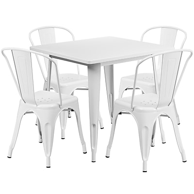 Flash Furniture 31.5'' Square White Metal Indoor-Outdoor Table Set with 4 Stack Chairs (ET-CT002-4-30-WH-GG)