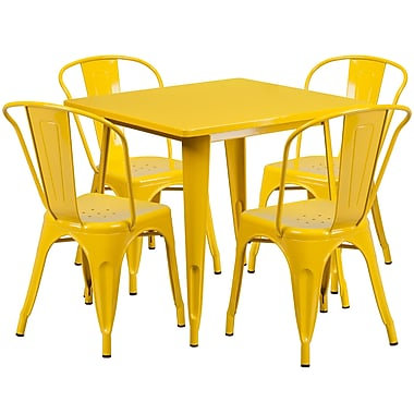 Flash Furniture 31.5'' Square Yellow Metal Indoor-Outdoor Table Set with 4 Stack Chairs (ET-CT002-4-30-YL-GG)