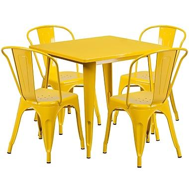 Flash Furniture – Table carrée en métal 31,5 po et 4 chaises empilables, int/ext, jaune (ET-CT002-4-30-YL-GG)