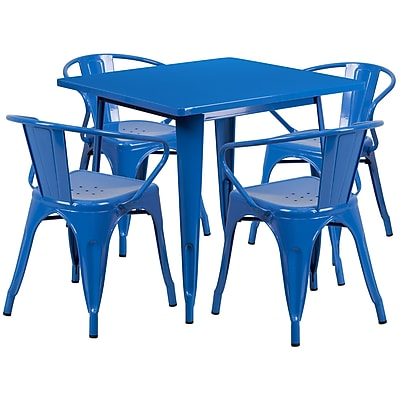 Flash Furniture 31.5'' Square Blue Metal Indoor-Outdoor Table Set with 4 Arm Chairs (ET-CT002-4-70-BL-GG)