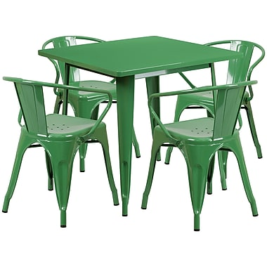 Flash Furniture – Table carrée en métal 31,5 po et 4 chaises à accoudoirs, int/ext, vert (ET-CT002-4-70-GN-GG)