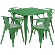 Flash Furniture 31.5'' Square Green Metal Indoor-Outdoor Table Set with 4 Arm Chairs (ET-CT002-4-70-GN-GG)