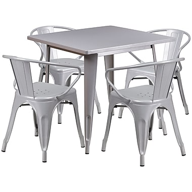 Flash Furniture – Table carrée en métal 31,5 po et 4 chaises à accoudoirs, int/ext, argenté (ET-CT002-4-70-SIL-GG)
