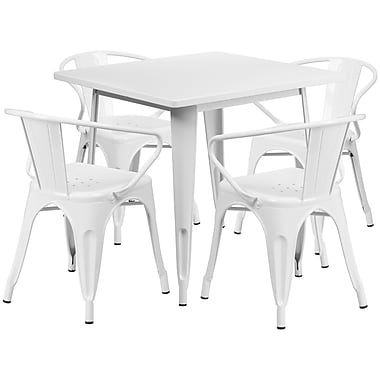 Flash Furniture – Table carrée en métal 31,5 po et 4 chaises à accoudoirs, int/ext, blanc (ET-CT002-4-70-WH-GG)