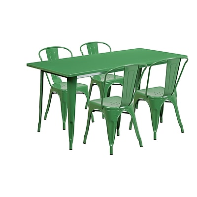Flash Furniture 31.5'' x 63'' Rectangular Green Metal Indoor-Outdoor Table Set with 4 Stack Chairs (ET-CT005-4-30-GN-GG)