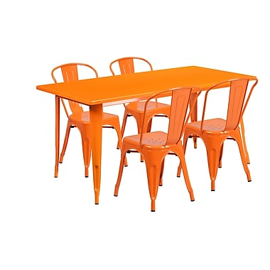 Flash Furniture – Table rectangulaire en métal de 31,5 x 63 po et 4 chaises empilables, int/ext, orange (ET-CT005-4-30-OR-GG)