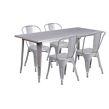 Flash Furniture – Table rectangulaire en métal de 31,5 x 63 po et 4 chaises empilables, int/ext, argenté (ET-CT005-4-30-SIL-GG)