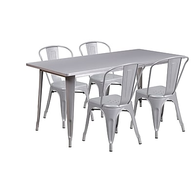 Flash Furniture 31.5'' x 63'' Rectangular Silver Metal Indoor-Outdoor Table Set with 4 Stack Chairs (ET-CT005-4-30-SIL-GG)
