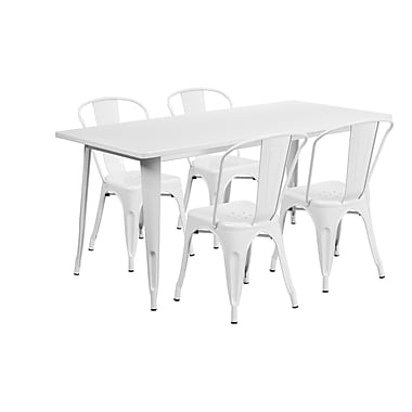Flash Furniture – Table rectangulaire en métal de 31,5 x 63 po et 4 chaises empilables, int/ext, blanc (ET-CT005-4-30-WH-GG)