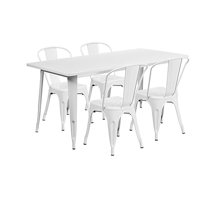 Flash Furniture 31.5'' x 63'' Rectangular White Metal Indoor-Outdoor Table Set with 4 Stack Chairs (ET-CT005-4-30-WH-GG)