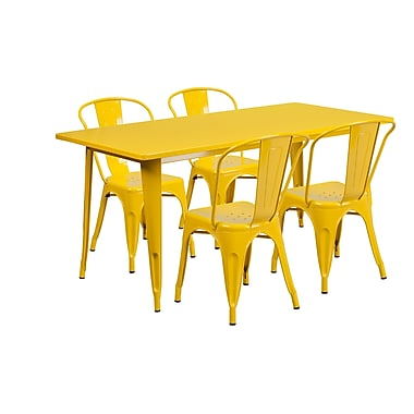 Flash Furniture 31.5'' x 63'' Rectangular Yellow Metal Indoor-Outdoor Table Set with 4 Stack Chairs (ET-CT005-4-30-YL-GG)