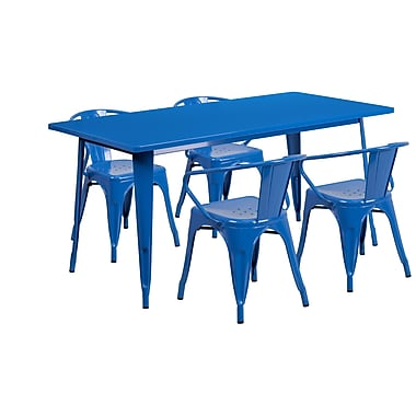 Flash Furniture 31.5'' x 63'' Rectangular Blue Metal Indoor-Outdoor Table Set with 4 Arm Chairs (ET-CT005-4-70-BL-GG)