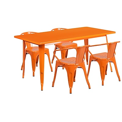 Flash Furniture 31.5'' x 63'' Rectangular Orange Metal Indoor-Outdoor Table Set with 4 Arm Chairs (ET-CT005-4-70-OR-GG)