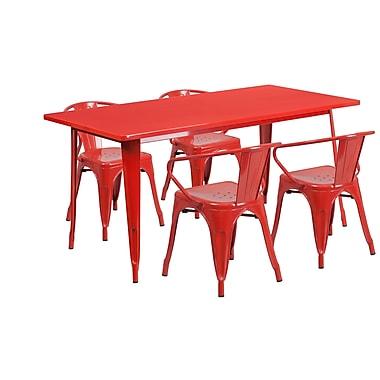 Flash Furniture – Table rectangulaire de 31,5 x 63 po en métal rouge et 4 fauteuils, intérieur/extérieur (ET-CT005-4-70-RED-GG)