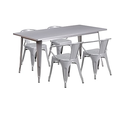 Flash Furniture 31.5'' x 63'' Rectangular Silver Metal Indoor-Outdoor Table Set with 4 Arm Chairs (ET-CT005-4-70-SIL-GG)