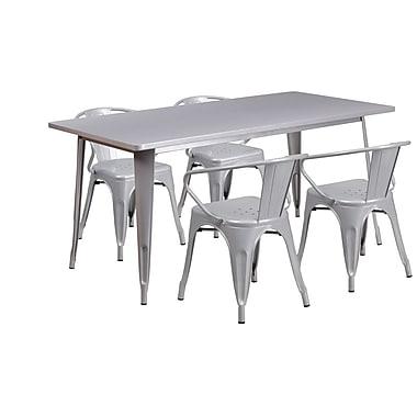Flash Furniture – Table rectangulaire de 31,5 x 63 po en métal argenté et 4 fauteuils intérieur/extérieur (ET-CT005-4-70-SIL-GG)