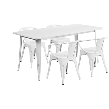 Flash Furniture 31.5'' x 63'' Rectangular White Metal Indoor-Outdoor Table Set with 4 Arm Chairs (ET-CT005-4-70-WH-GG)