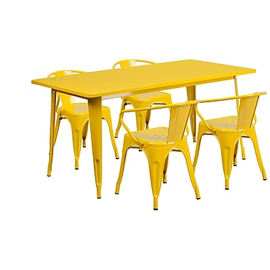 Flash Furniture 31.5'' x 63'' Rectangular Yellow Metal Indoor-Outdoor Table Set with 4 Arm Chairs (ET-CT005-4-70-YL-GG)