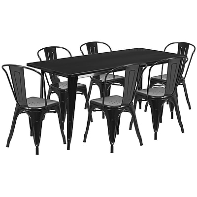 Flash Furniture 31.5'' x 63'' Rectangular Black Metal Indoor-Outdoor Table Set with 6 Stack Chairs (ET-CT005-6-30-BK-GG)
