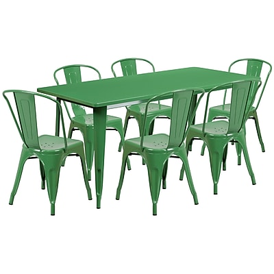 Flash Furniture 31.5'' x 63'' Rectangular Green Metal Indoor-Outdoor Table Set with 6 Stack Chairs (ET-CT005-6-30-GN-GG)