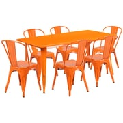 Flash Furniture 31.5'' x 63'' Rectangular Orange Metal Indoor-Outdoor Table Set with 6 Stack Chairs (ET-CT005-6-30-OR-GG)
