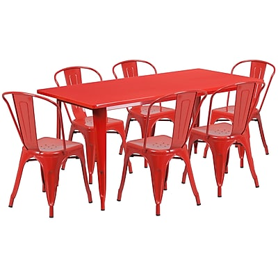 Flash Furniture 31.5'' x 63'' Rectangular Red Metal Indoor-Outdoor Table Set with 6 Stack Chairs (ET-CT005-6-30-RED-GG)