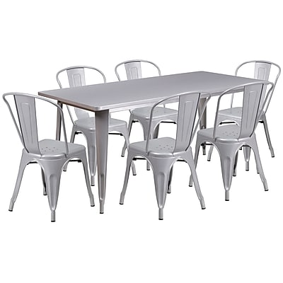Flash Furniture 31.5'' x 63'' Rectangular Silver Metal Indoor-Outdoor Table Set with 6 Stack Chairs (ET-CT005-6-30-SIL-GG)