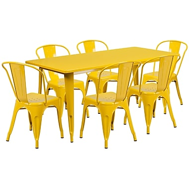 Flash Furniture – Table rectangulaire 31,5 x 63 po et 6 chaises empilables, int./ext., métal, jaune (ET-CT005-6-30-YL-GG)