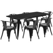 Flash Furniture 31.5'' x 63'' Rectangular Black Metal Indoor-Outdoor Table Set with 6 Arm Chairs (ET-CT005-6-70-BK-GG)