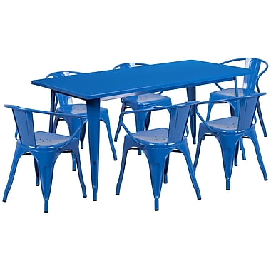Flash Furniture – Table rectangulaire en métal de 31,5 x 63 po et 6 chaises à accoudoirs, int/ext, bleu (ET-CT005-6-70-BL-GG)