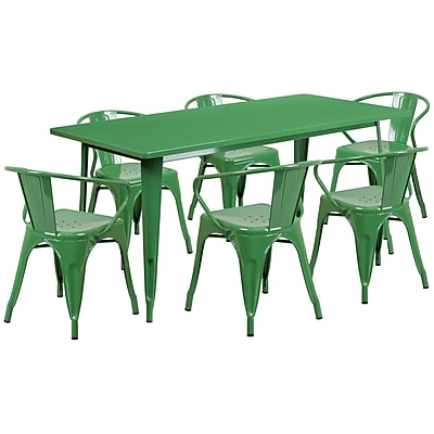 Flash Furniture 31.5'' x 63'' Rectangular Green Metal Indoor-Outdoor Table Set with 6 Arm Chairs (ET-CT005-6-70-GN-GG)
