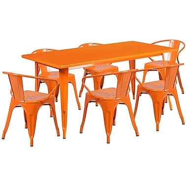 Flash Furniture 31.5'' x 63'' Rectangular Orange Metal Indoor-Outdoor Table Set with 6 Arm Chairs (ET-CT005-6-70-OR-GG)