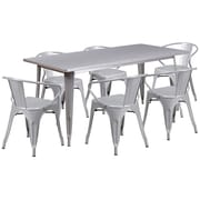 Flash Furniture 31.5'' x 63'' Rectangular Silver Metal Indoor-Outdoor Table Set with 6 Arm Chairs (ET-CT005-6-70-SIL-GG)