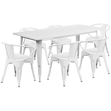 Flash Furniture – Table rectangulaire en métal 31,5 x 63 po et 6 chaises à accoudoirs, int./ext., blanc (ET-CT005-6-70-YL-GG)