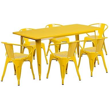 Flash Furniture – Table rectangulaire en métal 31,5 x 63 po et 6 chaises à accoudoirs, int./ext., jaune (ET-CT005-6-70-YL-GG)