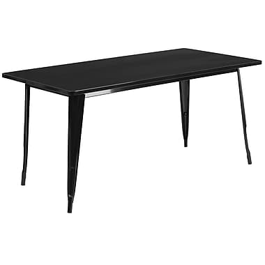 Flash Furniture 31.5'' x 63'' Rectangular Black Metal Indoor-Outdoor Table (ET-CT005-BK-GG)