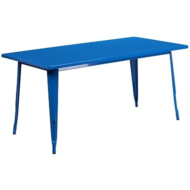 Flash Furniture 31.5'' x 63'' Rectangular Blue Metal Indoor-Outdoor Table (ET-CT005-BL-GG)
