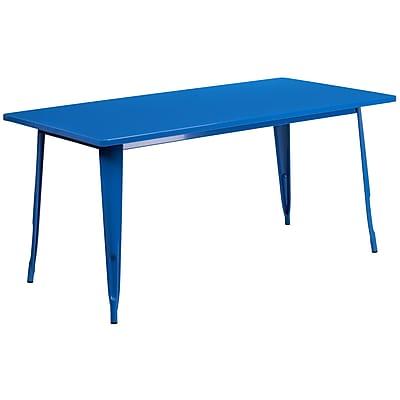 Flash Furniture 31.5'' x 63'' Rectangular Blue Metal Indoor-Outdoor Table (ET-CT005-BL-GG)