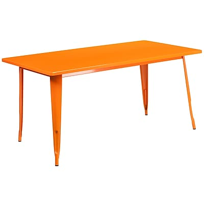 Flash Furniture 31.5'' x 63'' Rectangular Orange Metal Indoor-Outdoor Table (ET-CT005-OR-GG)