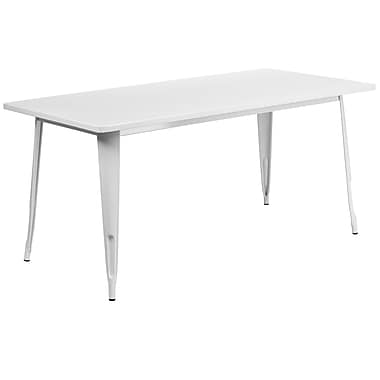 Flash Furniture 31.5'' x 63'' Rectangular White Metal Indoor-Outdoor Table (ET-CT005-WH-GG)