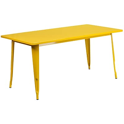 Flash Furniture 31.5'' x 63'' Rectangular Yellow Metal Indoor-Outdoor Table (ET-CT005-YL-GG)